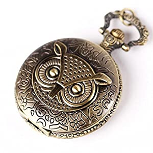 Yesurprise Antique Case Bronze Tone Owl Quartz Pocket Chain Pendant Watch Necklace 4.2CM