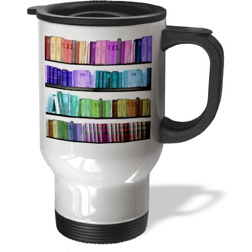 3Drose Colorful Bookshelf, Rainbow Books, Reading Library, Stainless Steel Travel Mug, 14-Oz