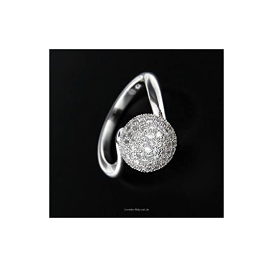 W, Silver Ball Ring Zirconia 58