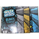 """3x Crayola Wild Notes 1 Subject Notebooks - 70 Wide Ruled BLACK Pages - 10""""x7.5"""" and Gold, Silver & Blue Wild Note Pens"""