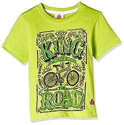 UFO Boys' T-Shirt (AW-16-KF-BKT-202_Lime Green_4 - 5 years)