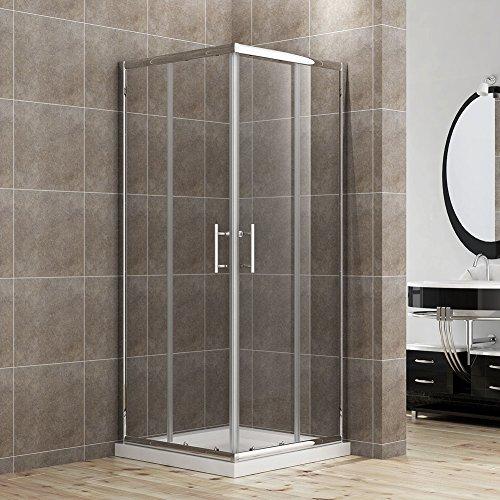 Duschkabine - Eckeinstieg - Doppel Schiebetür aus Echtglas