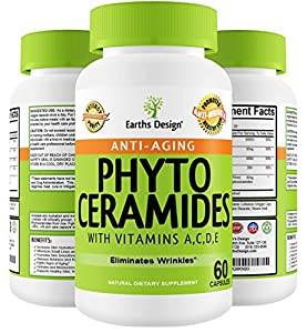 Phytoceramides, Best Selling Anti Aging Supplement as Featured on TV Dr Show, Plant Derived Ceramides from Rice, Naturally Smooths Wrinkles, FDA Approved, Skin Care Supplement with Vitamin A, Vitamin C, Vitamin E, Guaranteed by Earths Design
