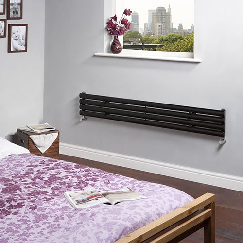 Milano Aruba - High-Gloss Black Designer Radiator - Curved Panels - Luxury Central Heating Horizontal 'Oval' Columns - 236mm x 1600mm