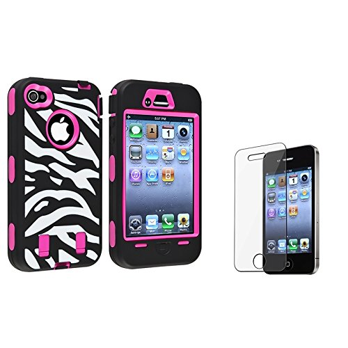Pandamimi Rose Pink White Zebra Combo Hard Soft High Impact iPhone 4 4S Armor Case Skin Gel with free screen protector (Iphone 4 Case Combo Pack compare prices)