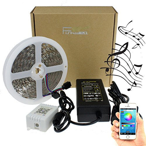 LED Lights Strip Kit Lighting 5m 16.4ft Music Sound Activated SMD 5050 RGB Mutil-Color Non Waterproof with Bluetooth Music Controller by APP for Andriod & IOS (Led Car Strip Light Line compare prices)