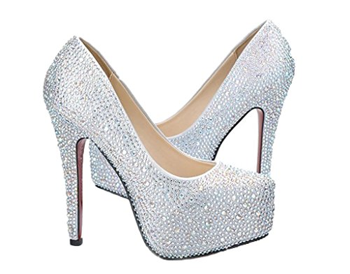 Sassy Sexy MIRAGE Rhinestone Stiletto Heel Glitter Pumps Frozen Elsa Shoes