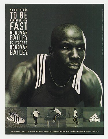 Adidas Combat Speed Wrestling Shoes 1996 Donovan Bailey Adidas Shoes Photo Print Ad