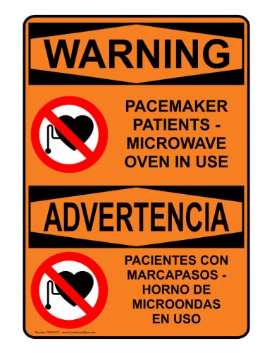 Compliancesigns Aluminum Osha Warning Sign, 7 X 5 In. With Mri / X-Ray / Microwave Info In English + Spanish, Orange