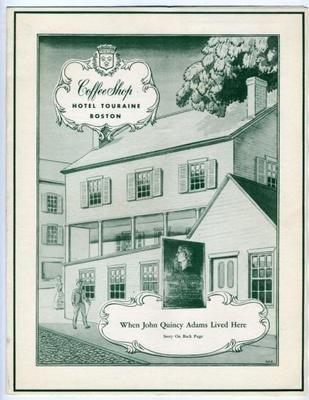 Hotel Touraine Coffee Shop Menu Boston Massachusetts 1947