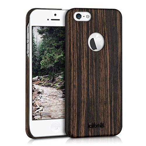 kalibri-Holz-Case-Hlle-fr-Apple-iPhone-SE-5-5S-Handy-Cover-Schutzhlle-aus-Echt-Holz-und-Kunststoff-aus-Lindenholz-in-Dunkelbraun