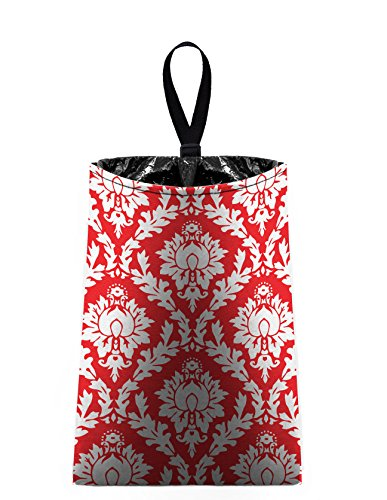 Auto Trash (Red and White Damask) by The Mod Mobile - litter bag/garbage can for your car (Damask Garbage Can compare prices)