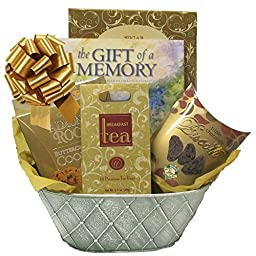 Sympathy Gift Basket with The Gift of a Memory Keepsake Book and Gourmet Food