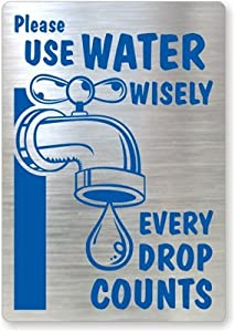 """Please Use Water Wisely, Every Drop Counts (with Graphic), MirrorPalTM Glass Label Decal, 5"""" x 3.5"""""""