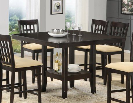 Buy Low Price Hillsdale Counter Height Dining Table with Storage Base in Cappuccino Finish (HS-4155DTBG)