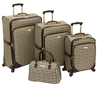 London Fog Luggage Kingsbury Collection 4 Piece Set, Navy/Chocolate Check, One Size