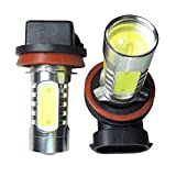 2x White Xenon H11 High Power COB LED Projector Bulb Fog For Car Driving Light