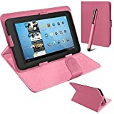 Connect Zone® Universal PU Leather Stand Case Cover For Various Android Tablet PC + Tall Touch Screen Stylus (Pink)