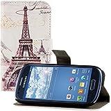 kwmobile Funda chic de cuero sintético para el Samsung Galaxy S3 Mini i8190 con una práctica función de soporte - ¡Diseño ciudad (París) en negro blanco!