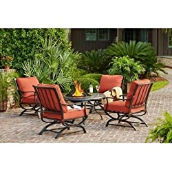 Hampton Bay Redwood Valley 5-Piece Patio Fire Pit Seating Set with Quarry Red Cushions