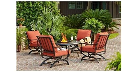Fancy  Pc Hampton Bay Redwood Valley Patio Fire Pit Seating Set from Home Depot for