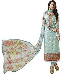 Vasu Saree Sky Blue Georgette Latest Designer Function Wear Fancy Long Straight Suit