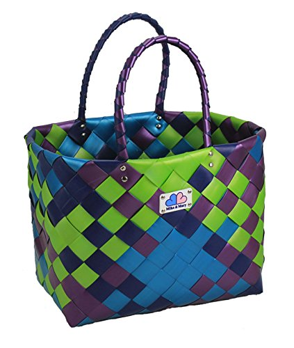 Mike & Mary Washable Grocery Shopping Baskets Travel Bags Reusable Tote Bag Eco-friendly Woven Handbags (forest) (Hand Wheel Sealer compare prices)