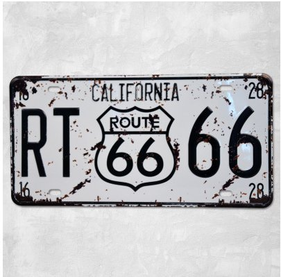 RT Route 66 California Vintage Auto License Plate, Embossed Tag Size 6