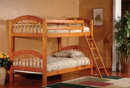 Simple King us Brand Furniture BH Wood Arched Design Convertible Bunk Bed Twin Honey Finish