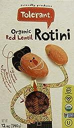 Tolerant Organic Red Lentil Rotini 12 oz (340 grams) Box