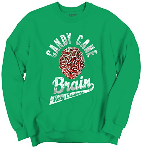 Candy Cane Brain Trendy Cool Fashion Funny Christmas Crewneck Sweatshirt (Irish Fireplace Screen compare prices)
