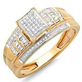 0.33 Carat (ctw) 10K Yellow Gold Round & Baguette Cut Ladies Diamond Bridal Engagement Ring 1/3 CT