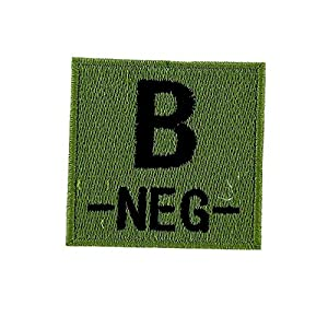 Patch ecusson brodé airsoft tactical militaire groupe sanguin thermocollant camo - B-