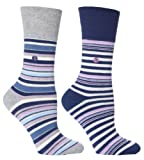 Womens Navy Stripe Cushion Foot Honeycombe Top Gentle Grip Sock By Sock Shop 2pk