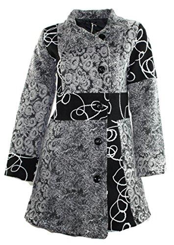 #684 Damen Designer Patchwork Winter Mantel Trenchcoat Wintermantel 36 38 40 42 (40)