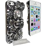 LOVE MY CASE / NEW Diamond Bling Gothic Skull Hard Case, Cover, Skin with LMC Screen Cleaning Cloth for Apple iPhone 5 / 5S