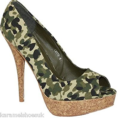 2270 new womens green camouflage stiletto high heel
