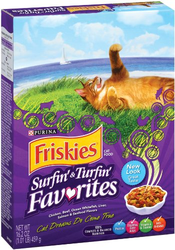 Detail image Purina Pet Care Friskies Dry Cat Surf & Turf Variety, 16.2-Ounce (Pack of 12)
