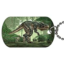 "T Rex dinosaur tyrannosaurus rex Dog Tag with 30"" chain necklace Great Gift Idea"