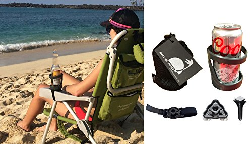 SunChaser Bevi Pro Outdoor Drink Holders for Beer Cans, Bottles, Cups, and Other Beverages - Picnics, Beach, Boats, RV's & More in GRAPHITE GREY