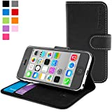 Snugg - Funda Para iPhone 5c - Funda De Cuero Con Soporte Plegable Y Una Garantía De Por Vida (Negro) Para Apple iPhone 5c