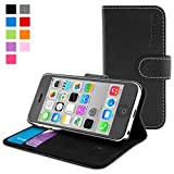 Snugg® iPhone 5c Case - Leather Wallet Case with Lifetime Guarantee (Black) for Apple iPhone 5c