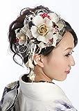 花髪飾り かんざしセット 白 オフホワイト[ 成人式 振袖 卒業式 袴 着物 和装 簪 髪型]
