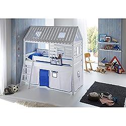 Spielbett Toms Hütte Relita Weiß mit Vorhang und Tasche in Weiß-Delfin Blau Massivholz Holz Stoff