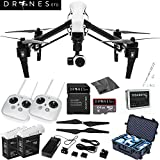 DJI Inspire 1 with Dual Remotes EVERYTHING YOU NEED Kit Includes Go Professional Travel Case + 64GB UHS-I/U3 Micro SDXC Memory Card (SDSDQX-032G-U46A) + Batter Charger & DJI TB48 Intelligent Flight Battery + DJI 1345 Self-Tightening Props + High Speed Memory Card Reader + Drones Etc. Lanyard + Microfiber Cleaning Cloth + Trackimo Tracker