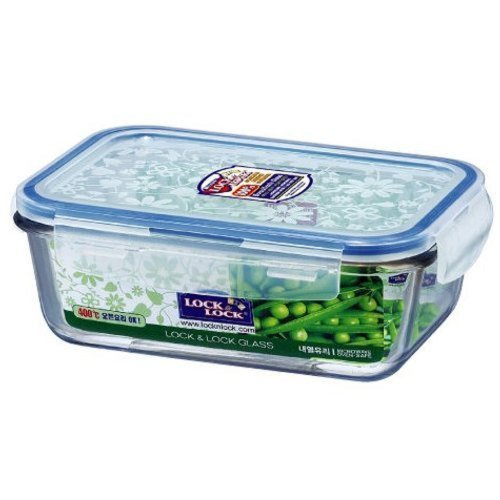 Lock & Lock Glass Euro Lunch Box Set, Green Color Dot Pattern Bag