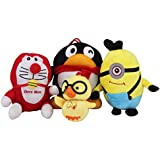 Set Of 4 Toys For Play Angry Birds Game (Minion+Doraemon+2 Angry Bird)