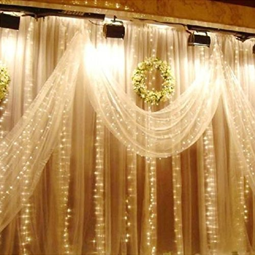 Sunsbell 300Led 9.8 Ft Window Curtain Party Chrismas Xmas Fairy Lights , New Year'S Party Lighting Garden Wedding Party Warm White Decoration Lamp 3Mx3M