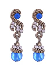 Clickingo Blue Diamond And Pearl Fashion Earrings For Women - B00OH32TEQ