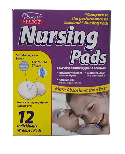 Parent's Select Disposable Nursing Pads for Bra (Compare to Lansinoh Nursing Pads) 12 Individually Wrapped Pads (5 Pack)